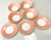 PINK Cremax Bordette Petalware milk glass bowls and plates dessert set, pink crinoline ruffle glass depression vintage MacBeth-Evans