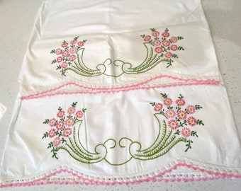 PAIR of Flowers Floral Pink Embroidered & Crochet Vintage pillowcase pillow case Embroidery Mid Century Standard