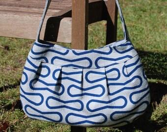 Organic Blue Retro-Modern Buttercup Bag, Purse, Handbag