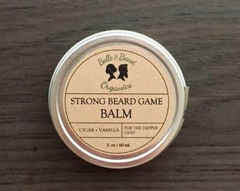 Strong Beard Game Balm   Organic Beard Balm   Gifts for him   Beard Gifts   Bearded Man  