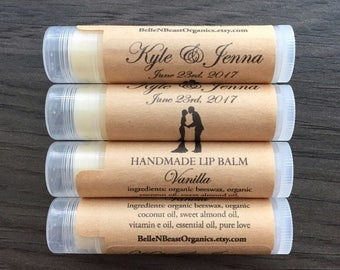 Personalized WEDDING FAVORS | Organic Lip Balm | Custom Favors | Organic Gifts | Personalized Favors | His & Her Gifts | Favors for Wedding