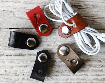Cord Organizers Cable Keeper for Headphones, Leather Cord Organizer Best Stocking Stuffers, Tech Accessories, Tech Gifts for Tech Lovers