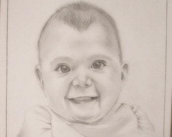 custom portrait in pencil and charcoal mixed
