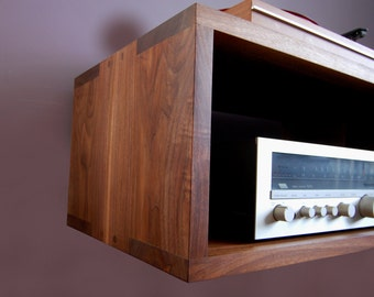 Solid Walnut Floating Record Player Table Amp Shelf
