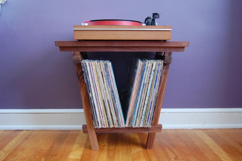 Beautiful Solid Walnut Record Player Table and LP Holder for image 0