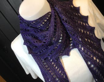 Sweet Louise hand knitted, hand dyed Shawl