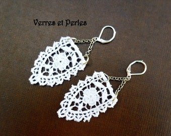 Ivory lace on chain earrings