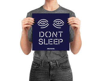 Don't Sleep Neon Design Typography Print