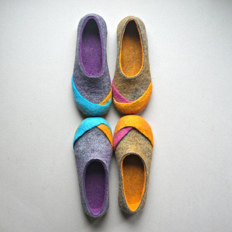 separation shoes e84c1 66b5c Feltro di lana donna Pantofole, scarpe casa in feltro, feltro eco,  Pantofole -