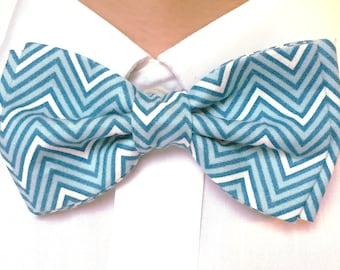 Blue White Bow Tie, Mens Bow Tie, Blue Chevron Tie, Blue White Chevron, Teal Blue Bow Tie, Ring Bearer Tie, Father Son Tie, Mens Bowtie