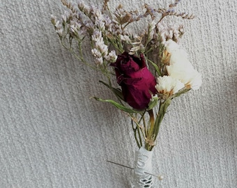 Three Dried flowers wedding boutonniere. The Buttonhole Remain as a souvenir from the wedding for years.. You can ask for a certain color