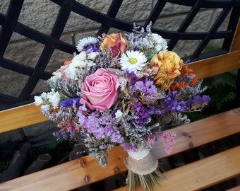 Dried Flowers Bouquet, Handmade Posy Wedding Bouquet.