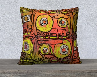 CASSETTES (neon) / pillow case