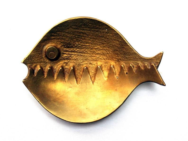 Vintage 1950s modernist brass ashtray Walter Bosse era Mid century modern fish shaped bowl Made in Austria