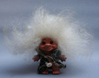 Vintage 1960s REGD DES small hard plastic troll, White mohair hair, Number 905395, Made in UK, Collectible figurine, Gift idea for collector