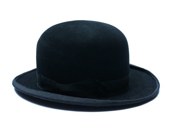 Antique 1900s French bowler hat Made in Paris Black felt hat  eeb5b476a2e7