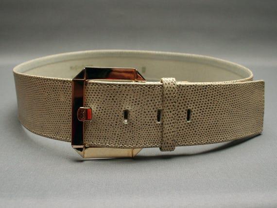 Yves saint laurent wide logo waist belt