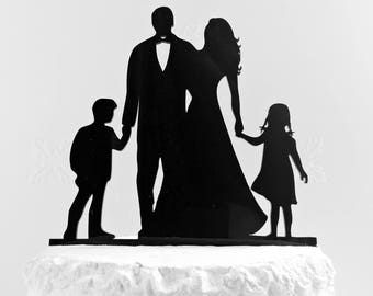 Family Wedding Cake Topper With 2 Children, Bride and Groom Cake Topper