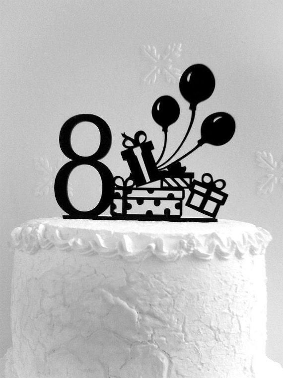 8th Birthday Cake Topper 8th Birthday Party Happy 8th Etsy