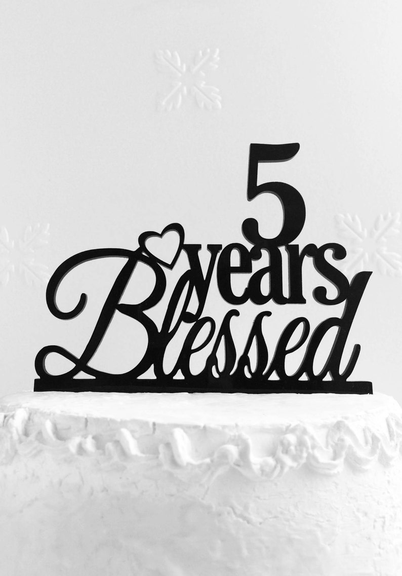 5 Years Blessed Cake Topper 5th Birthday
