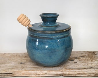 Ceramic Honey Pot  Handmade Pottery Honey Keeper with Dipper  Matte Maude  Yellow Glazed Stoneware  Kitchen  Fall  Rustic  Bohemian