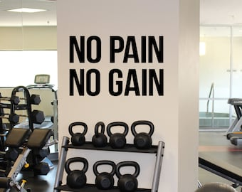 014cd4f079 Gym Motivational Quote No Pain No Gain Vinyl Decal Fitness Center Wall  Sticker Home Gym Interior Workout Wall Graphics 3(fgm)