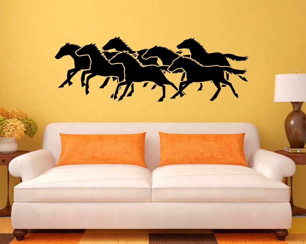 Running Horses Wall Decal Animals Vinyl Sticker Western Home | Etsy