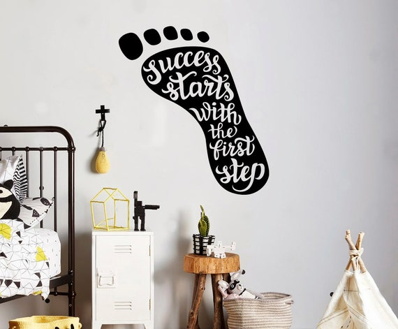 motivation quotes wall decal success starts first step wall | etsy