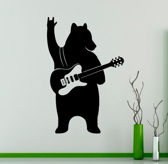 gui Bear with Guitar Wall Decal Vinyl Sticker Music Art Decor Funny Home Interior Housewares Room Office Design 3