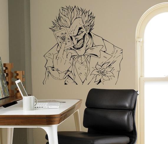 Joker Wall Decal Comics Vinyl Sticker Supervillain Art Decor Etsy