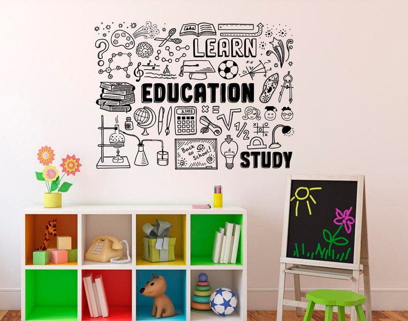 education wall decal school vinyl sticker library classroom | etsy