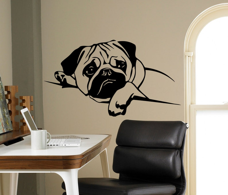 fa33a47bacd Puppy Pug Dog Wall Decal Pet Vinyl Sticker Cute Animals Home