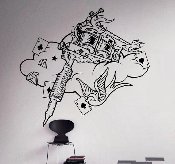 Tattoo Machine Wall Decal Tattoo Studio Poster Vinyl Sticker   Etsy