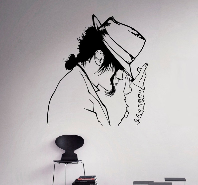 wall decal michael jackson vinyl sticker king of pop wall art | etsy