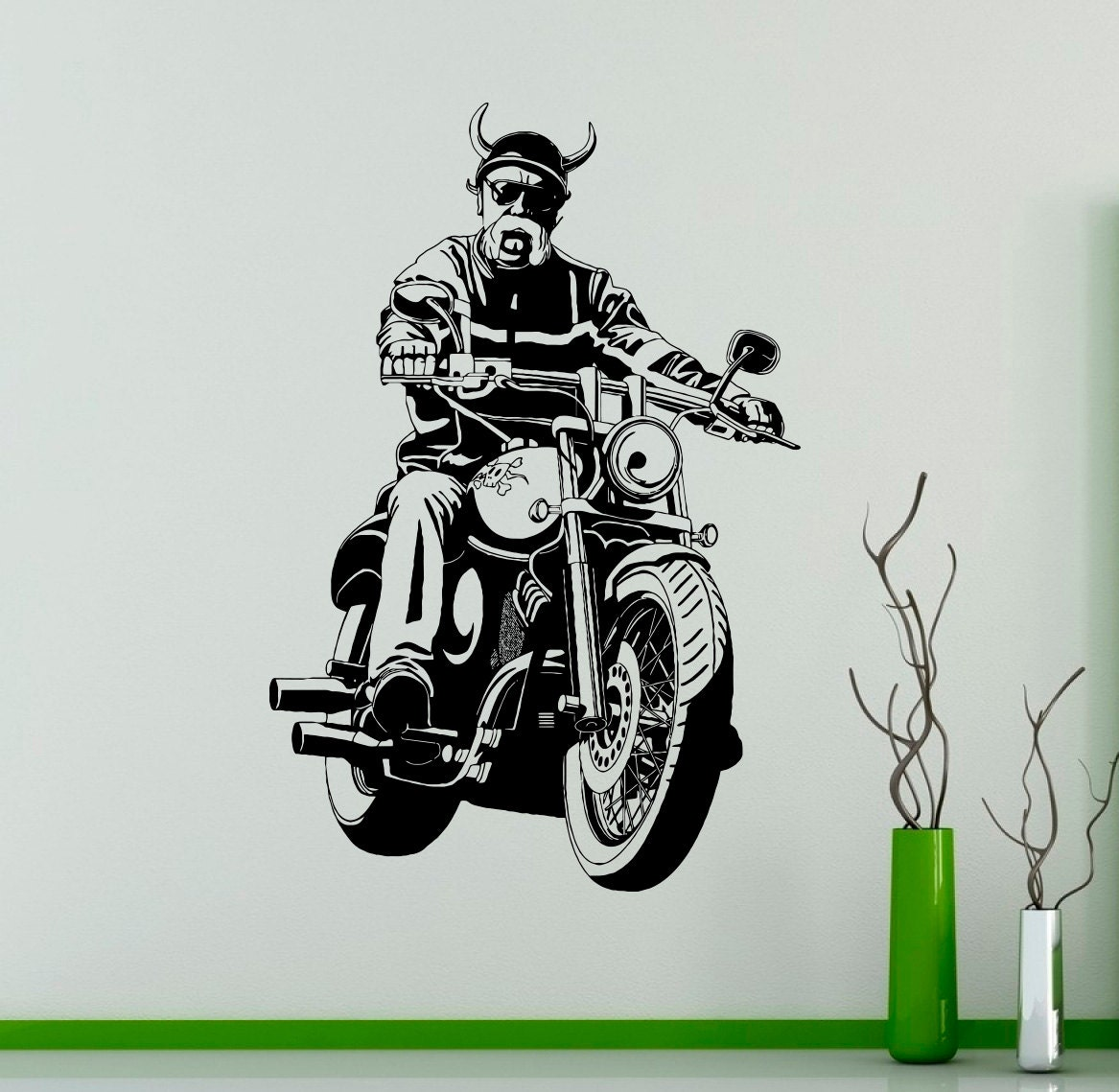 Brutal biker wall vinyl decal chopper motorbike wall sticker etsy