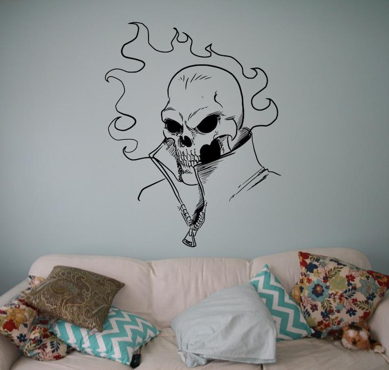 grd Flaming Skull Vinyl Decal Ghost Rider Comics Antiheroes Wall Sticker Home Interior Wall Graphics Bedroom Decor 12