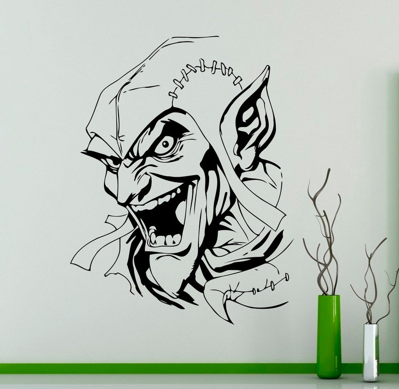 Comics Wall Vinyl Decal Green Goblin Supervillain Wall Sticker Etsy