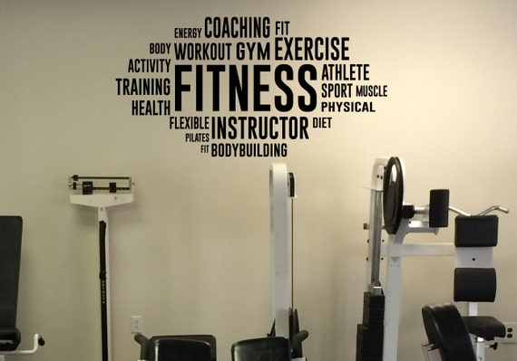 Motivation Word Cloud Fitness Wall Decal Vinyl Sticker Sport Etsy