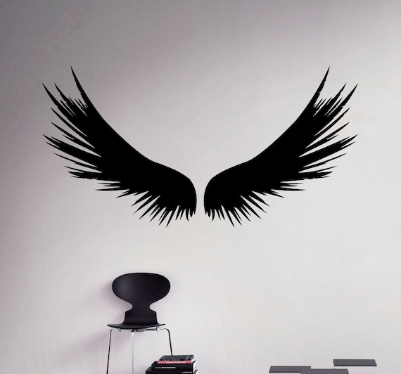 dark angel wings wall decal feathers vinyl sticker home decor | etsy