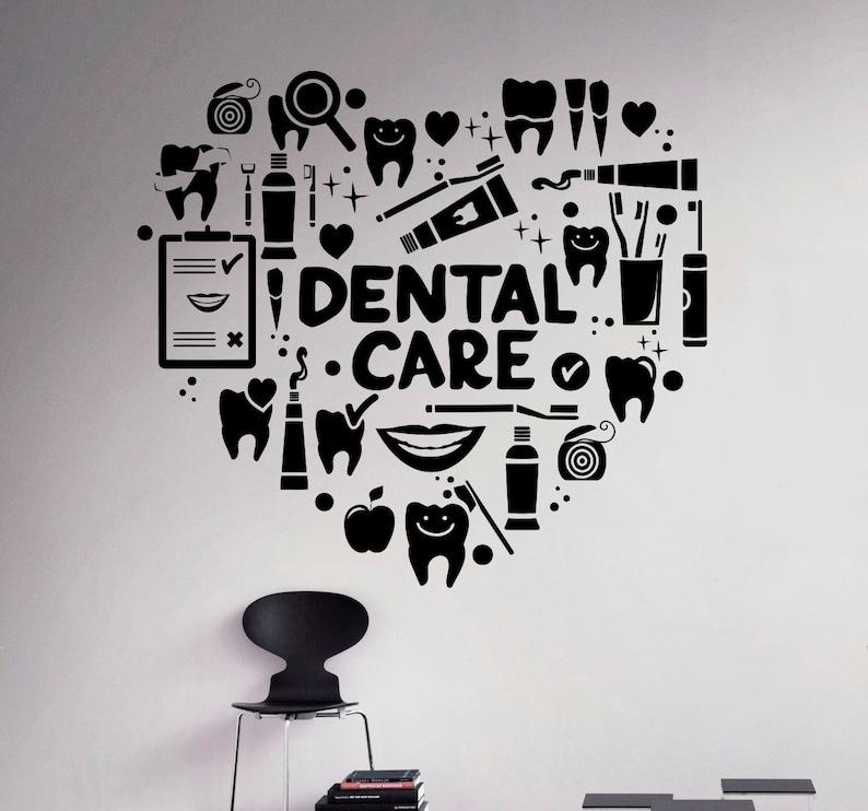 dental care wall decal dentist vinyl sticker wall art decor | etsy