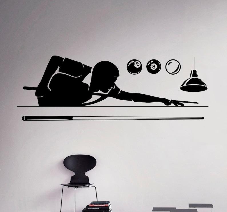 billiard pool wall decal poolroom vinyl sticker sport wall art | etsy