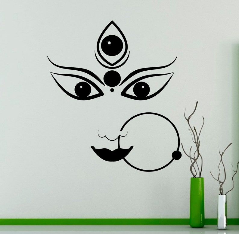 durga hindu god wall vinyl decal hinduism wall sticker   etsy