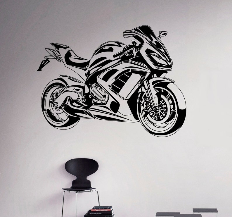 sport bike wall vinyl decal motorbike wall sticker garage | etsy