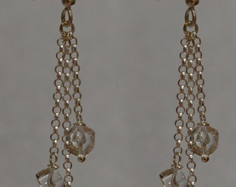 Roc Crystal and Chain Earrings Sterling Silver