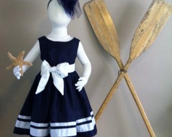 Navy Nautical Flower Girl Dress