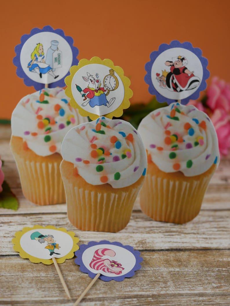 Alice In Wonderland Cupcake Toppers PicksAlice