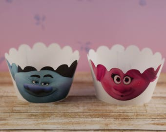 Trolls cupcake wrapper, Cute cupcake wrappers, Poppy and Branch