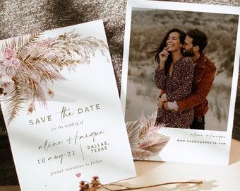 BOHO Save The Date,Calendar Save The Date,Tropical Save the date Orchid save the date calendar,Pam pampas grass Calendar save the date