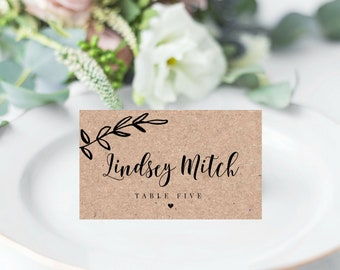 Rustic Place Cards Template, DIY Place cards, Instant Download, 100% Editable, Wedding Place Cards, Rustic Table Seating Cards Template