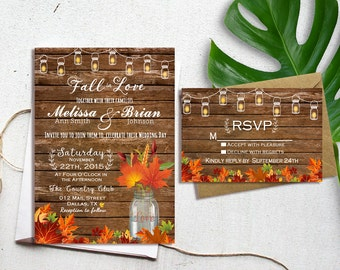 Fall wedding invites Etsy